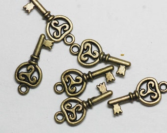 antiqued brass key charms