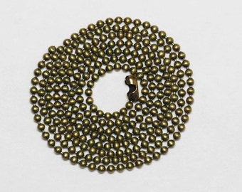 30in 1mm antiqued brass ball chain necklace