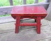 128 - Primitive Little Old Red-Black stool