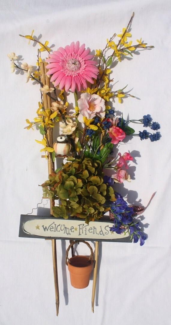 "Hanging Silk Flower Arrangement - ""Welcome Friends"""