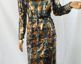 Interesting Black and Gold Sequin dress.