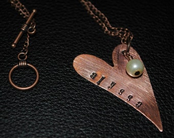 Personalized Copper Heart with Pearl Necklace