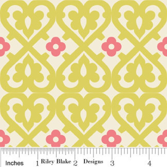 Riley Blake Fabric by the yard - Indian Summer  Damask - Green C2612