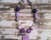 Ready to Ship - Purple Hippo necklace with chunky beads (purple, silver, white)