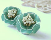 Vintage Clip-on Marvella Earrings Pastel Blue Porcelain Faux Pearls