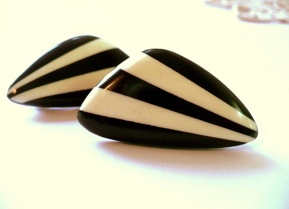 Vintage Clip-on Earrings Black and Ivory Stripes Circa 80s