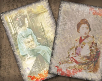 Vintage Women Japanese Kimono 3.5 x 5 for Postcards Collage  Art Sheet