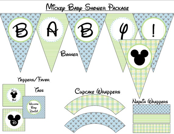 Mickey Mouse Baby Shower - Instant Download