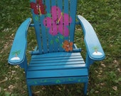 Hand Painted Tropical Hibiscus Flower Adirondack Chair