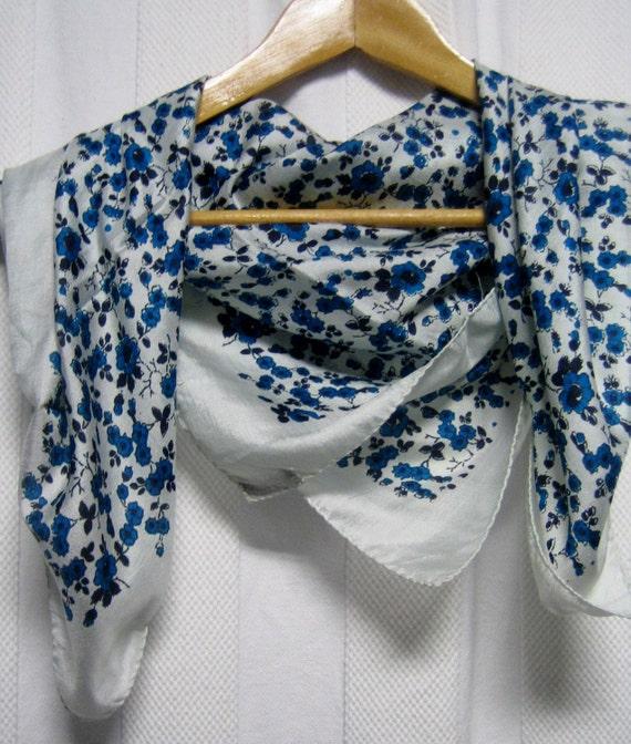 Teal floral print vintge silk scarf