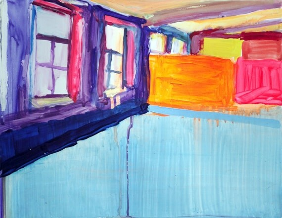 Empty spaces: Industrial windows in gouache and acrylic on Yupo