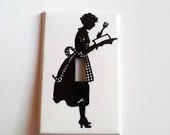 Light Switchplate, Switch Plate- Retro Woman Cooking Silhouette