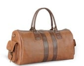 Brown Handmade Leather Big Travel Duffle Bag - Summer Collection 2012 (Colour: Tan)