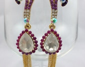 Clearance  SALE - Purple midnight, hand painted rhinestone earrings in ombre style.
