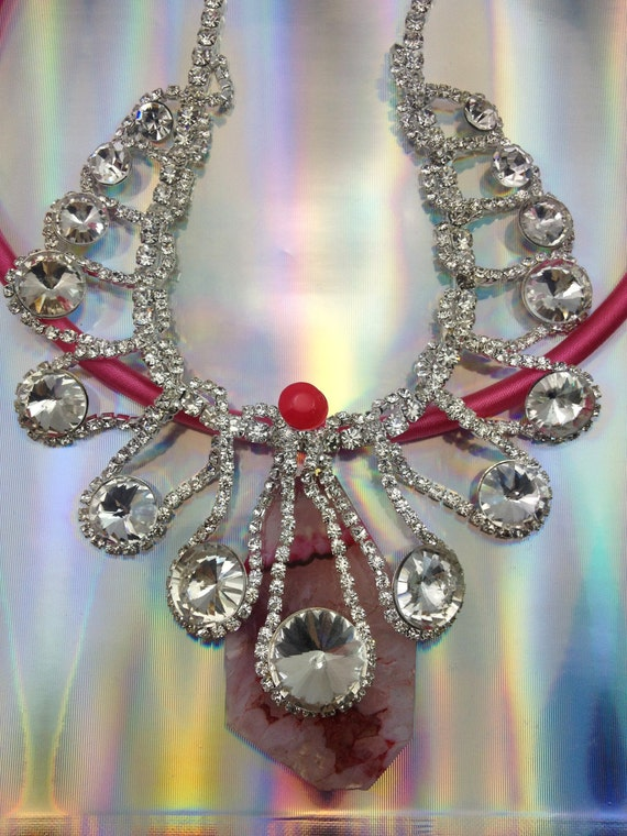 SALE - Digital princess, rhinestone necklace with pink neck ring ang pink agate piece