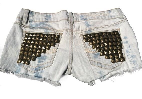 Studded Acid Washed Shorts