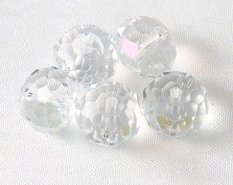 12mm x 8mm Faceted Cut Glass Puffy Donut Rondelle Beads - Crystal Aurora Borealis - 10 pcs