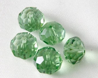 10 pcs - 12mm x 8mm Faceted Cut Glass Puffy Donut Rondelle Beads - Peridot Green