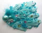 Mermaid's Sea Treasure Bouquet sparkly nagorie feather headband fascinator in turquoise, pink, green for girls, teens, and women