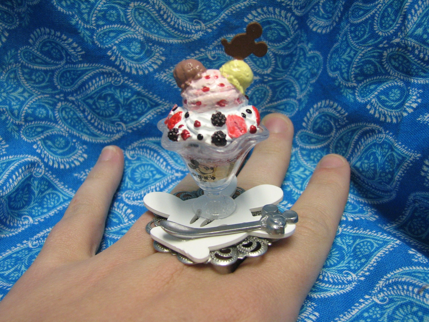 mickey mouse ice cream sundae ring by megemays on etsy. Black Bedroom Furniture Sets. Home Design Ideas