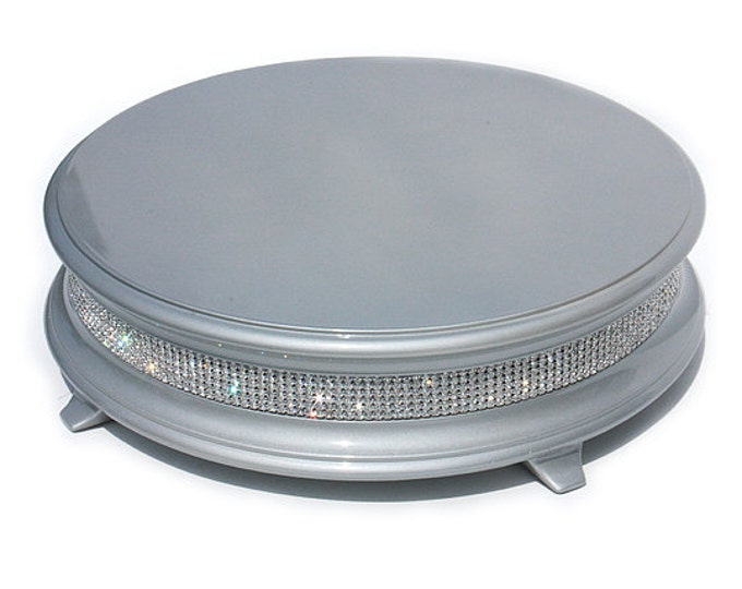 "16"" Silver Diamond Bling Wedding Cake Stand"