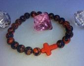 Florida Gators cross orange and blue turquoise bracelet