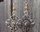 Antiqued Silver and Gold Earrings