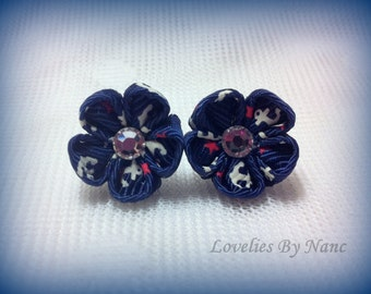 Exclusive Miniature Navy Anchor Kanzashi Earrings with Swarovski Crystal Centre