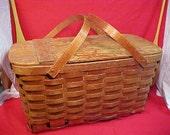 Vintage Picnic Basket w/ Pie Carrier Oak Construction Picnic