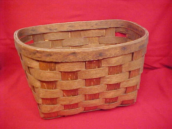 Vintage Mid Century Oak Bicycle Handlebar Basket