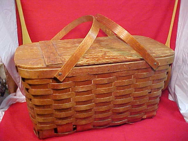 Picnic Basket Pie : Vintage picnic basket w pie carrier oak by mainetrader on