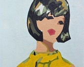 Eames Era MCM Style Abstract Woman in Yellow Portrait Art Painting