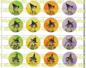 "Edwardian Witches in Halloween Colors Spot Illustrations 1.5"" Circles Digital Clip Art Sheet"