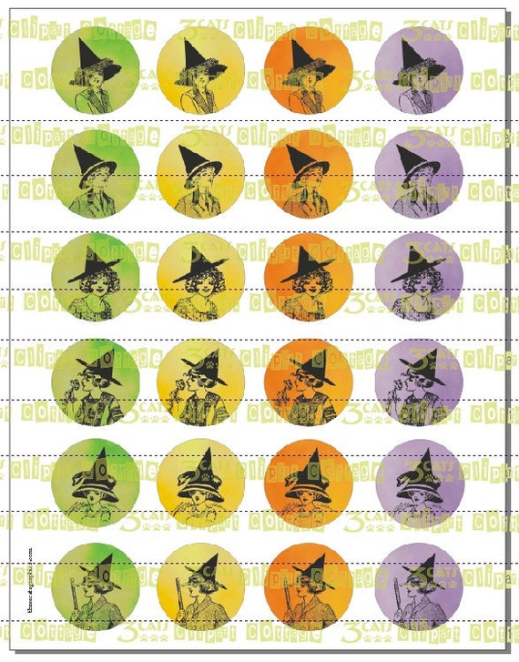 """Edwardian Witches in Halloween Colors Spot Illustrations 1.5"""" Circles Instant Digital Download"""