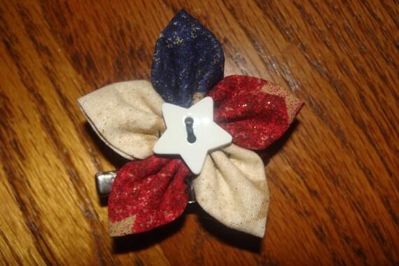 Handmade Patriotic Pin/Hair Clip (2-inch)
