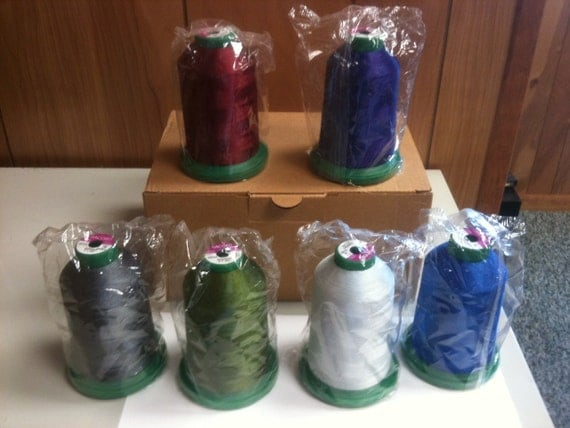 Brand New Box of Assorted Isacord Thread (6 Cones)