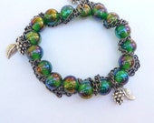 Green Chain and Charm Bracelet