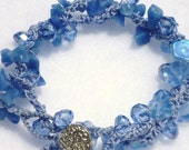 Baby Blue Crocheted Wrap Bracelet or Necklace with Crystals, Flower Beads, and Stone Chips