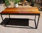 Reclaimed wood and steel coffe table.