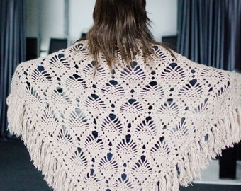 Beige triangle scarf shawl - mohair and acrylic unique handmade crochet