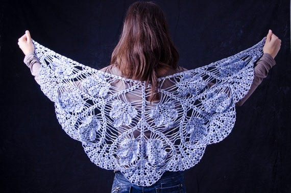White and blue triangle shawl flowers crochet handmade unique