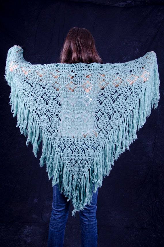 Green triangle scarf shawl - mohair and acrylic unique handmade crochet
