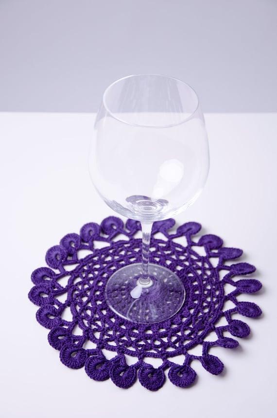 Purple table doily coaster handmade crochet