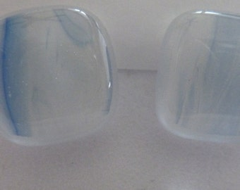 White and Pale Blue fusible glass post earrings