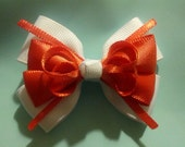 """2.5"""" Coral and White Classic Baby Girl Bow"""