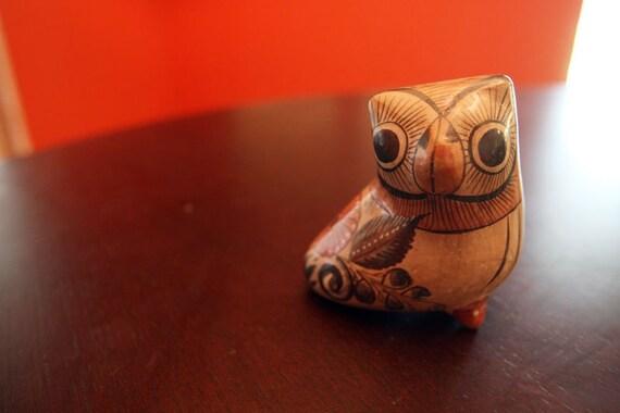 Owl Figurine - Owl Statue - Mexican Owl - Hand-Painted Owl - Hand-Painted Bird - Mexican Pottery (Mid-Century MidCentury)