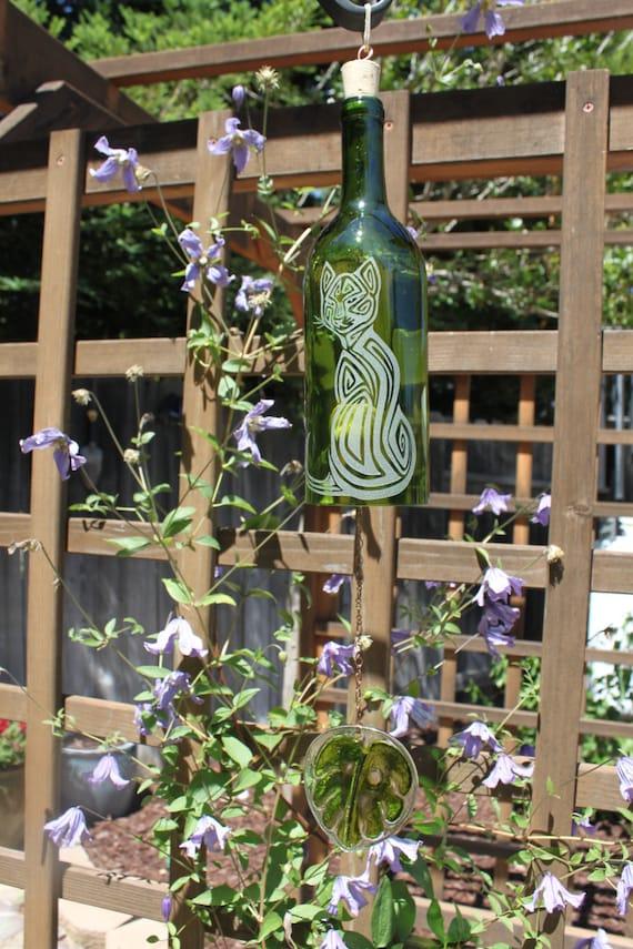 Cat Windchime - Upcycled Wine Bottle