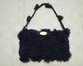 Navy Blue Shag Crocheted Purse with Vintage Yellow Button