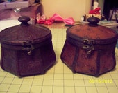 2 Leather Wrapped Boxes