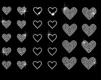 Set of 28 clear rhinestone hearts iron on transfer - BUY 2, GET 1 FREE
